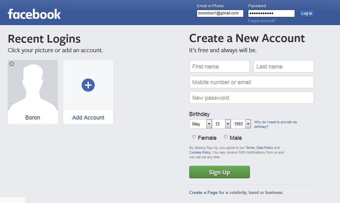access facebook account
