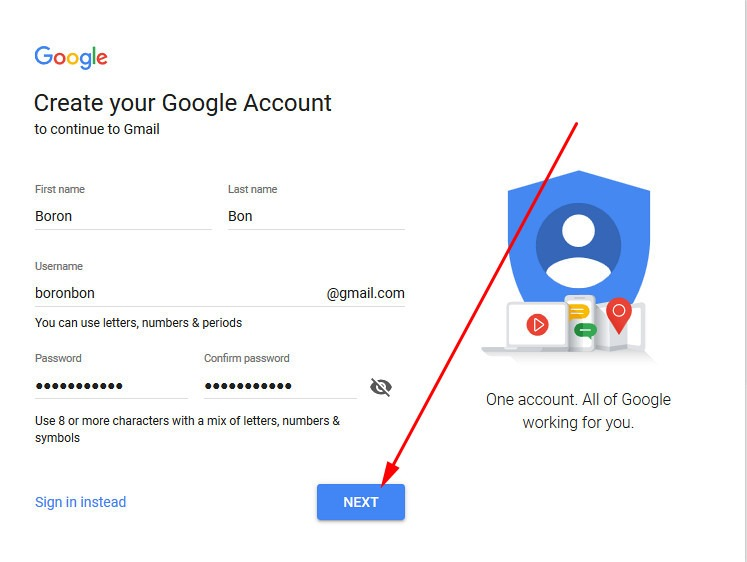 create account on gmail